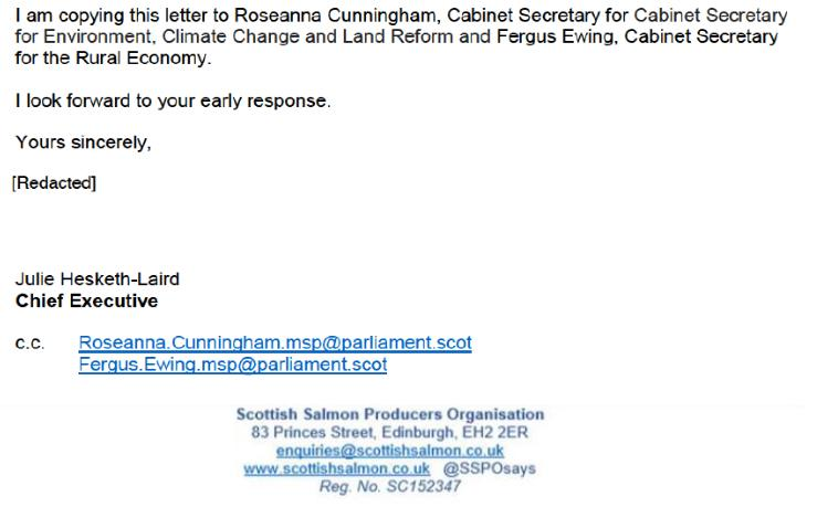 CleanTreat FOI Disclosures by the Scottish Government Dec 2019 #8 May 2019 SSPO to SEPA