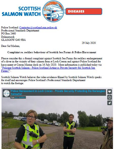 Letter to Police Scotland re Loch Creran 29 July 2020 #1