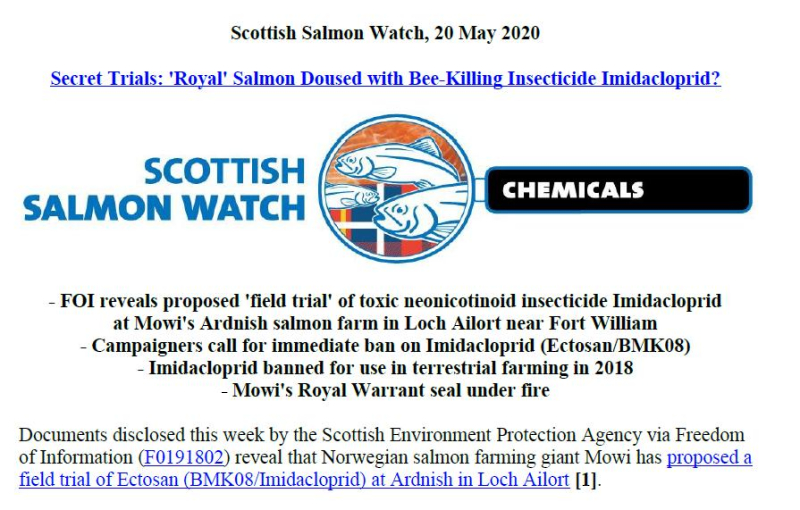 PR Imidacloprid trial in Loch Ailort by Mowi 20 May 2020 #1