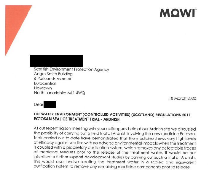 PR Imidacloprid trial in Loch Ailort by Mowi 20 May 2020 #2