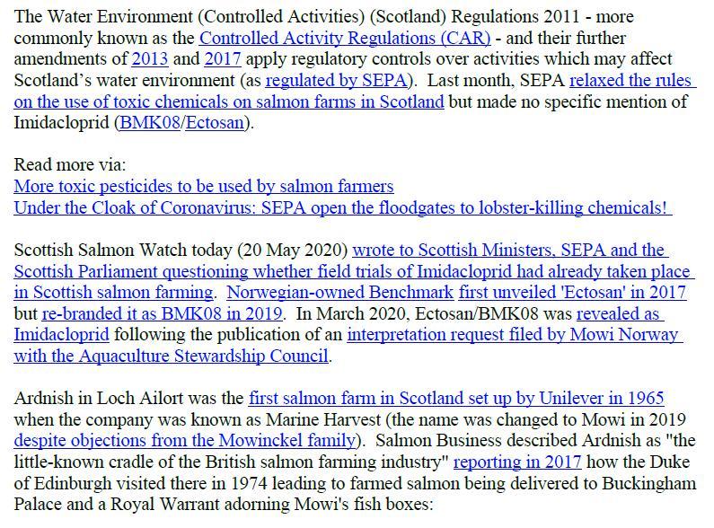 PR Imidacloprid trial in Loch Ailort by Mowi 20 May 2020 #4