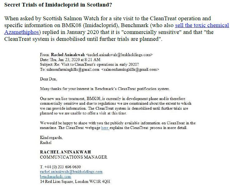 PR Imidacloprid trial in Loch Ailort by Mowi 20 May 2020 #17