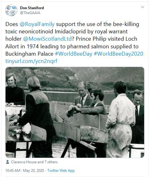 PR Imidacloprid trial in Loch Ailort by Mowi 20 May 2020 Tweet #3 Royal Family World Bee Day