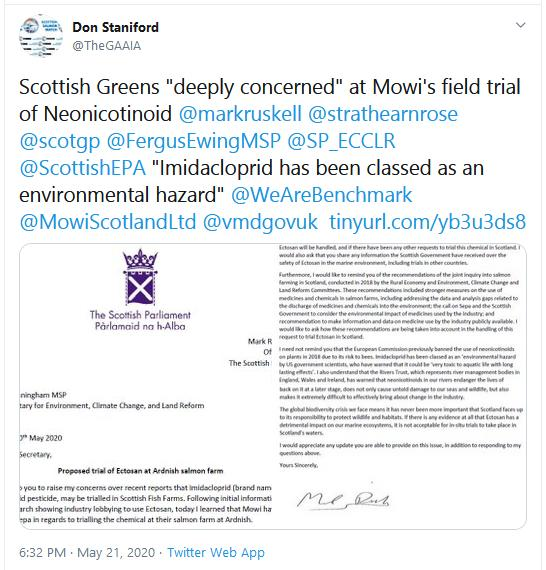 Ruskell letter re Imidacloprid to Scottish Ministers 20 May 2020 Tweet