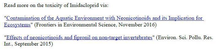 Imidacloprid scientific references #3