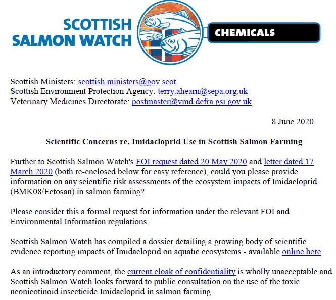 Letter to Scottish Ministers SEPA & VMD re Imidacloprid 8 June 2020 #1