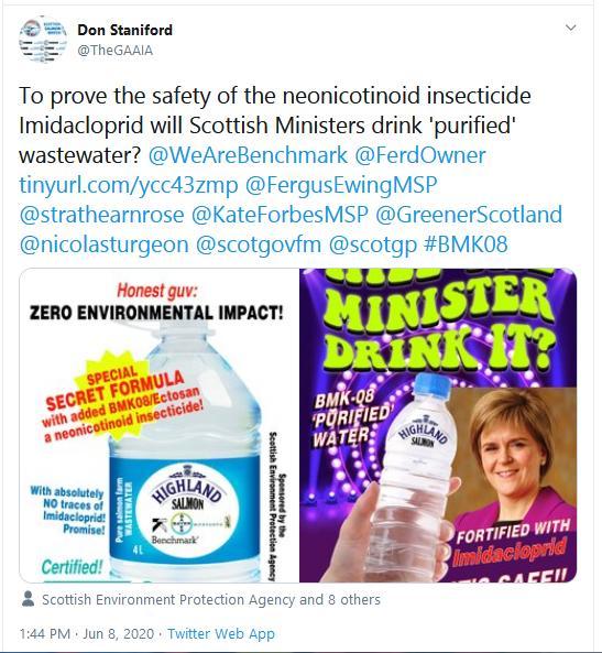 PR Scientific Opposition to Imidacloprid Use in Salmon Farming 8 June 2020 Tweet #6 bottle spoofs