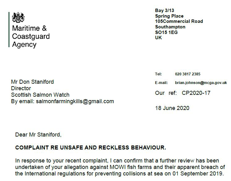 M&CA Complaint reply re Ardintoul 18 June 2020 Letter from Brian Johnson #1