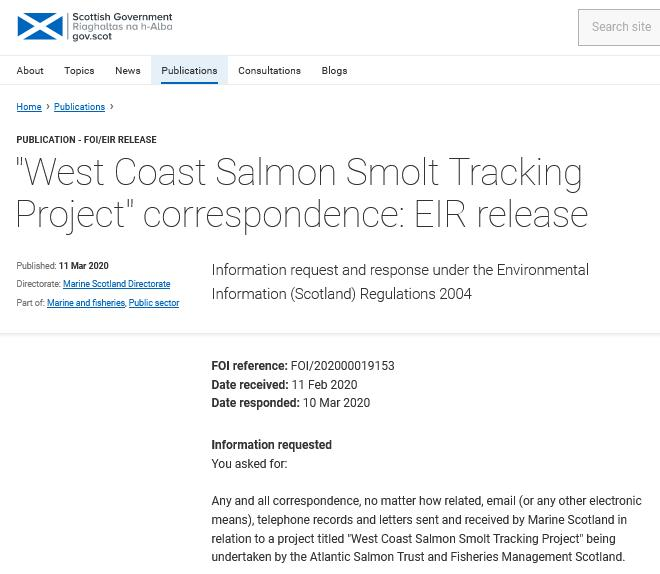 FOI reply West Coast Salmon Smolt March 2020 #1