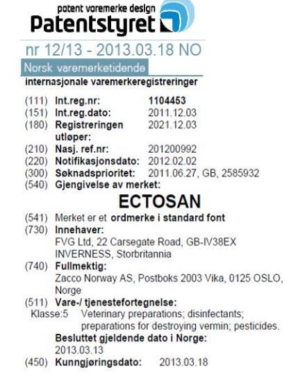 Imidacloprid Norwegian Patent 2011 in full