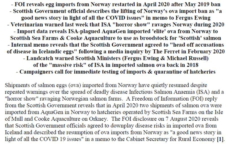 PR Norwegian Salmon Ova Slip Back Into Scotland 25 August 2020 #2