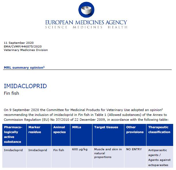 EMEA Imidacloprid approval 11 Sept 2020 #1