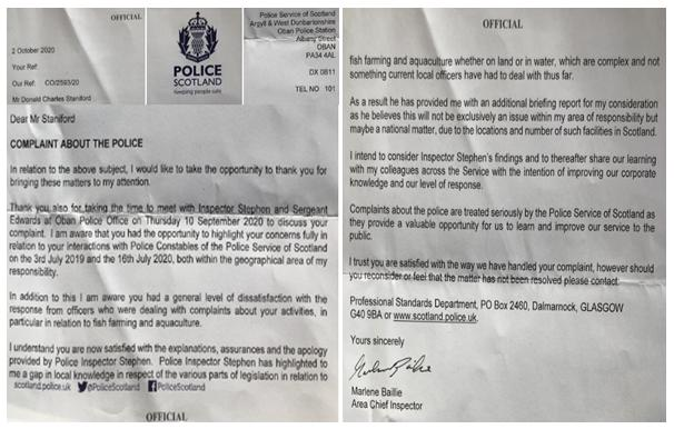 Police Scotland apology letter 2 October 2020 double