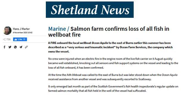 Shetland News on wellboat fire 4 Nov 2020 #1