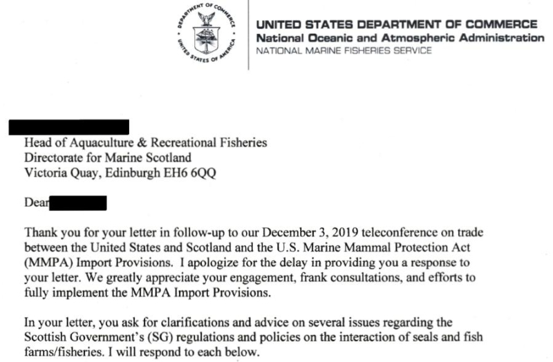 FOI SG MMPA 29 Oct 2020 NOAA letter to SG Intro