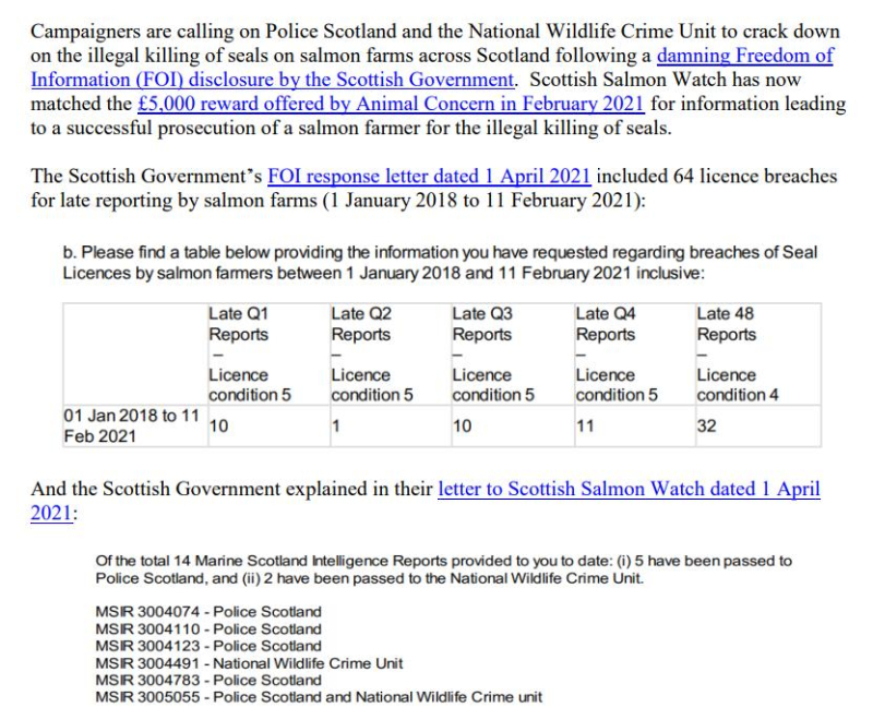 PR £10 000 Reward Illegal Killing of Seals by Scottish Salmon 26 April 2021 #3