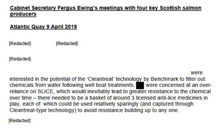 Fergus Ewing meeting four key salmon producers April 2019