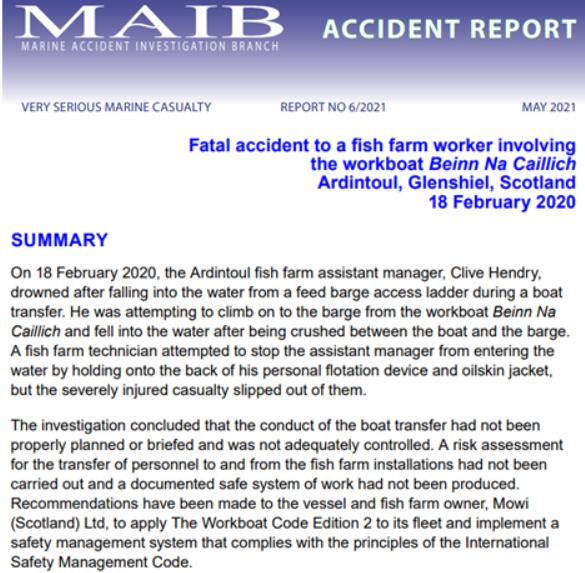 MAIB Clive Hendry accident report May 2021 report #1