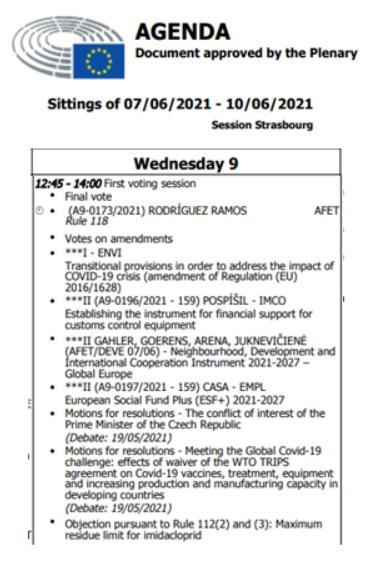 EP vote 9 June 2021 #8 agenda