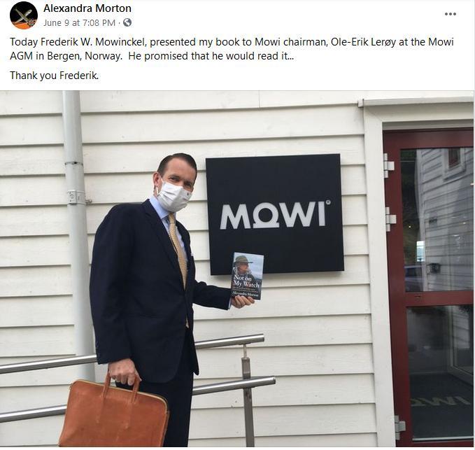 Frederik Mowinckel at Mowi AGM June 2021 Facebook post