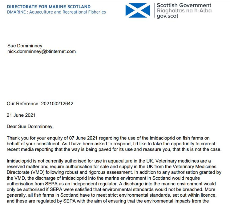 SG letter backtracking on Imidacloprid 21 June 2021 #1