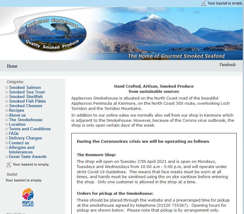 Applecross Smokehouse web-site change 24 June 2021 #3
