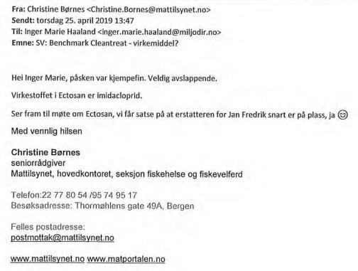 Norwegian Medicines Agency FOI reply on Imidacloprid 24 June 2021 #1 Mattilsynet saying it is Imidacloprid in April 2019