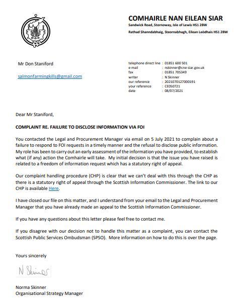 Whiteshore CnES letter 5 July 2021