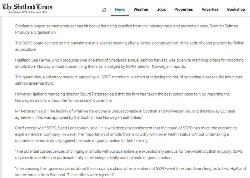 Salmondemic blog July 2021 #54 Shetland Times
