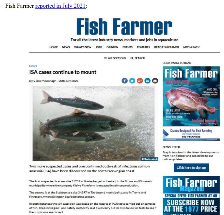 Media Backgrounder Norway Infectious Salmon Aquacalypse Going Global Since 1984 August 2021 #2