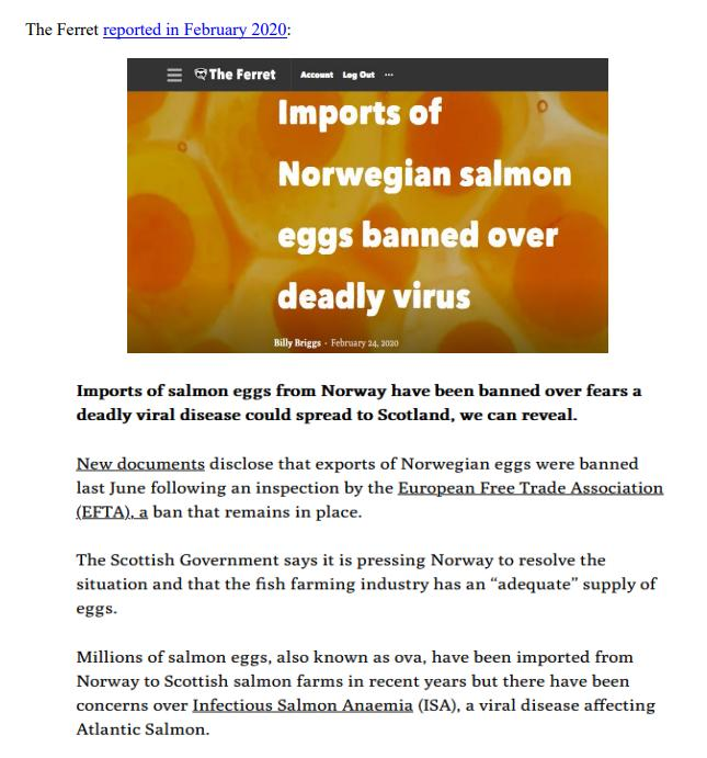 Media Backgrounder Norway Infectious Salmon Aquacalypse Going Global Since 1984 August 2021 #7