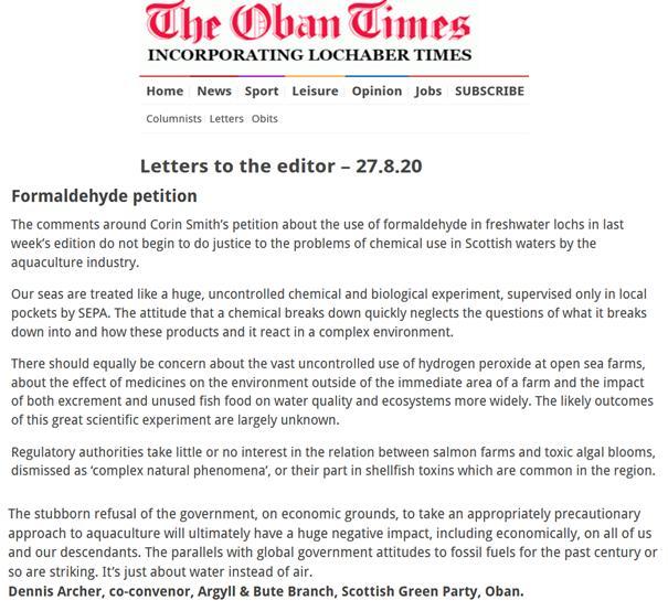 Oban Times letter 27 Aug 2020 Dennis Archer