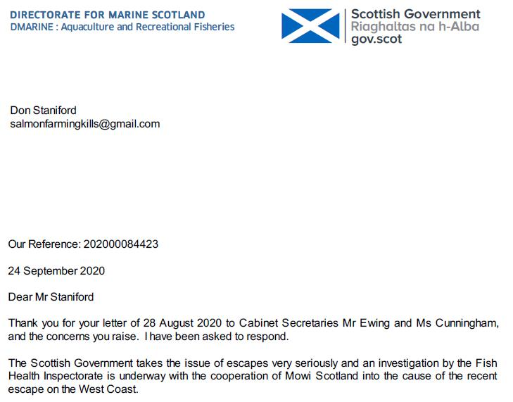 Letter from Scottish Ministers after Mowi Carradale escape 24 Sept 2020 #1