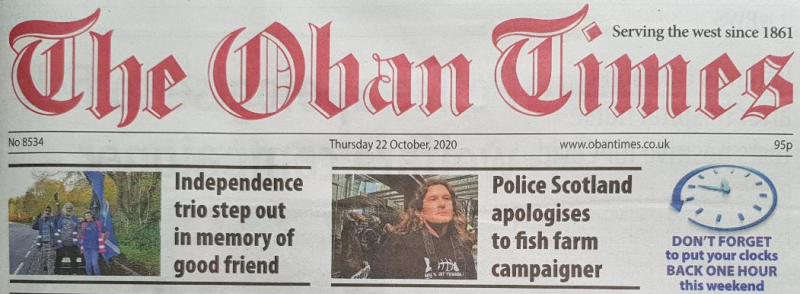 Oban Times 22 October 2020 newspaper version front page