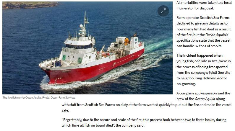 Shetland News on wellboat fire 4 Nov 2020 #2