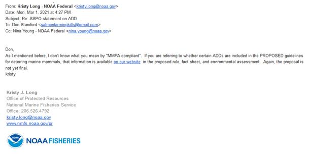 NOAA email on MMPA compliant ADDs 1 March 2021 #2