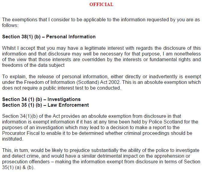 Police Scotland FOI refusal 2 March 2021 re marksmen & prosecutions #3