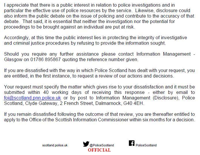 Police Scotland FOI refusal 2 March 2021 re marksmen & prosecutions #4