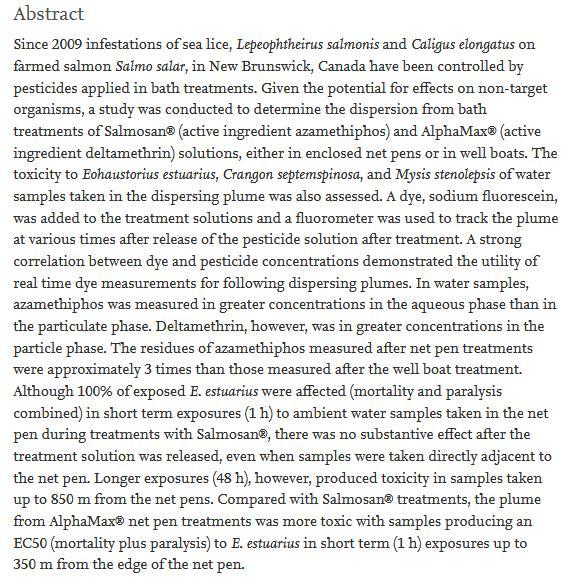 Deltamethrin paper Canada 2014 #2
