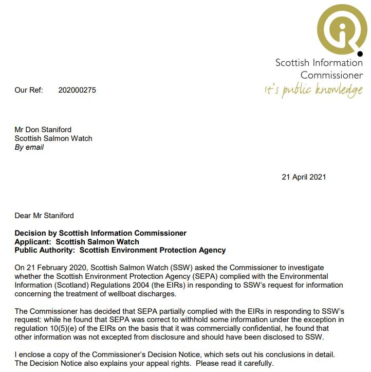 SIC CleanTreat SEPA Decision 046-2021 Letter to Scottish Salmon Watch 21 April 2021 #1