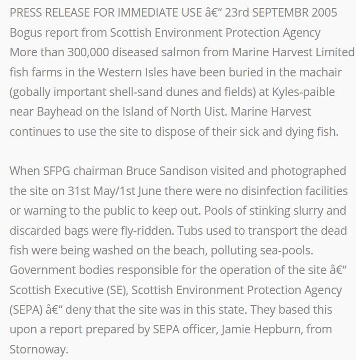 Sunday Times July 2005 North Uist salmon dump #3 SFPG
