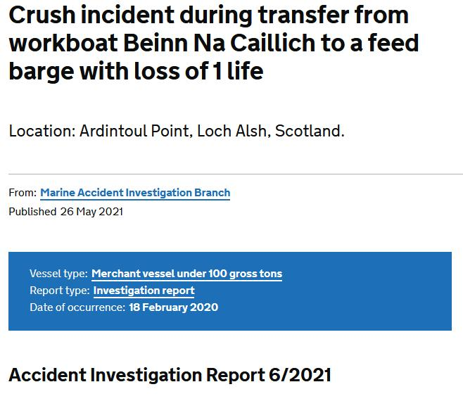 MAIB Clive Hendry accident report May 2021 report #3