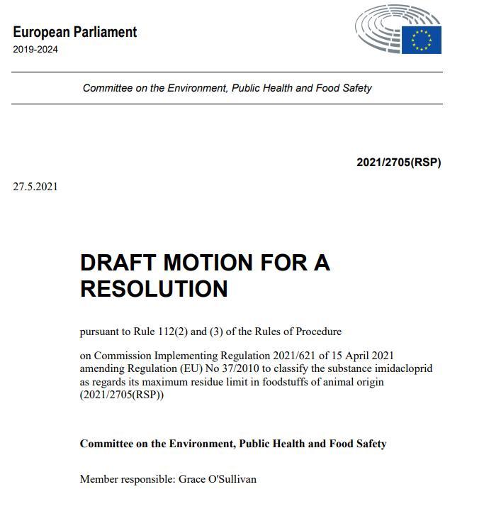 Imidacloprid EU Draft Motion for a Resolution 27 May 2021 #1