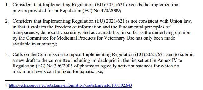 Imidacloprid EU Draft Motion for a Resolution 27 May 2021 #9