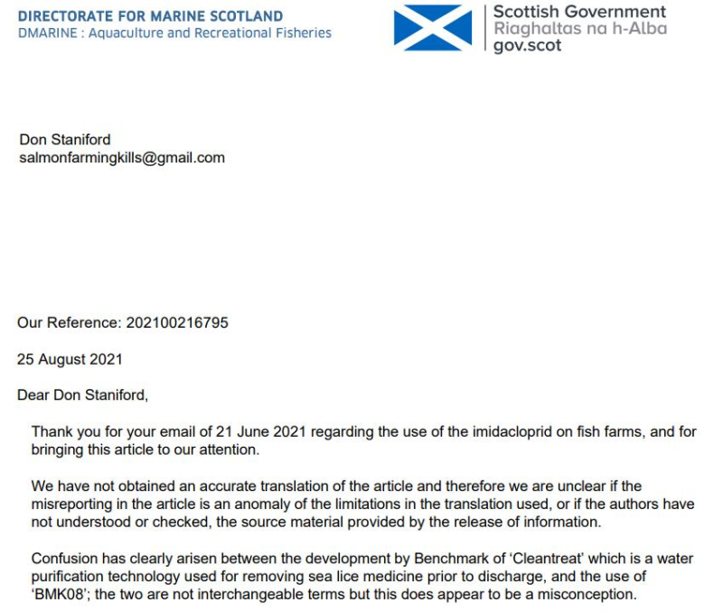 SG letter 25 Aug SEPA not received application for Imidacloprid 2021 #1