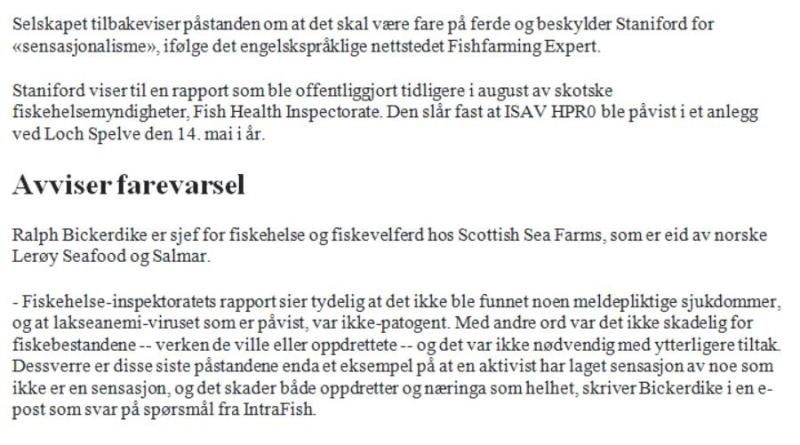 Intrafish 31 Aug ISA story in Norwegian #3