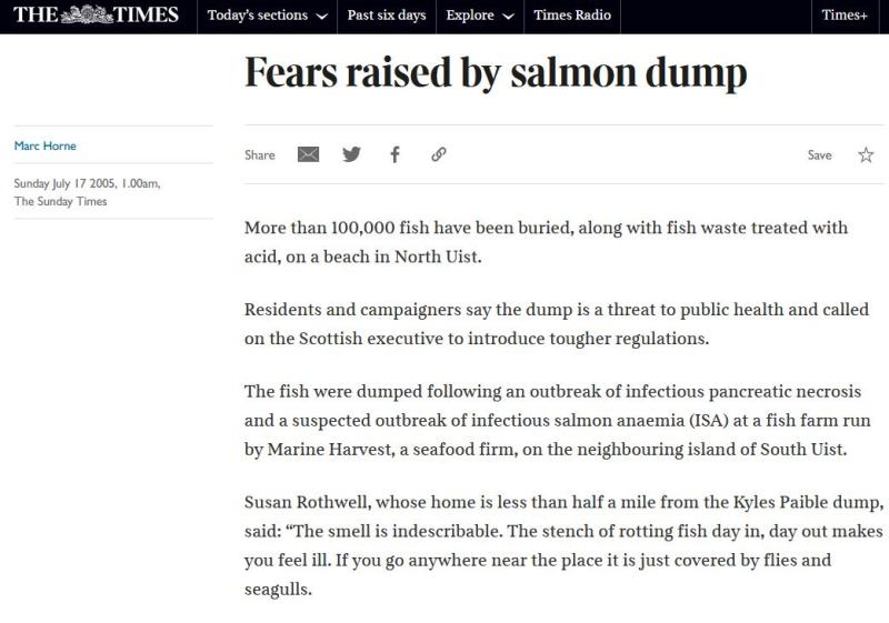 Sunday Times July 2005 North Uist salmon dump #1