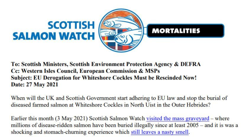 Whiteshore Cockles Letter to SG SEPA DEFRA re EU Derogation 27 May 2021 #1