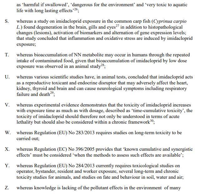 Imidacloprid EU Draft Motion for a Resolution 27 May 2021 #6