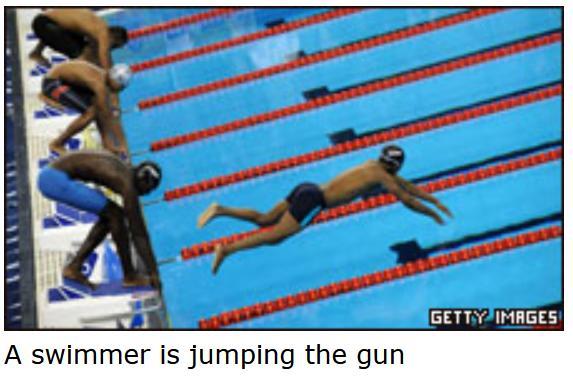 Jumping gun swimmer
